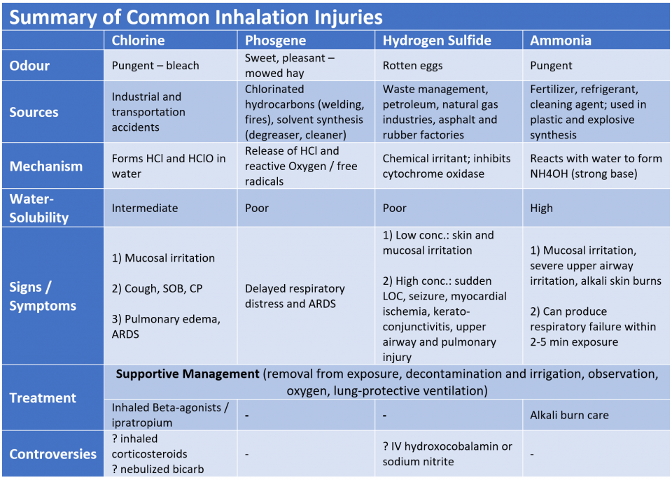 summary of inhalation injuries