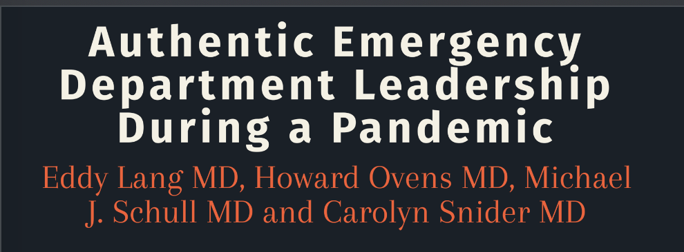 Authentic emergency department leadership during a pandemic